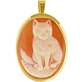 Click Here for More information or to Buy online Cat Cornelian Cameo Pendant / Pin