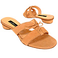 Lace-up Apricot Suede Slide Shoes