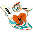 Optical Sky Blue Slide w/removable Ribbon Shoes