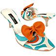 Optical Sky Blue Slide w/removable Ribbon Shoes