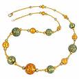 Click Here for More information or to Buy online Carmen - Gold & Green Murano Glass Necklace