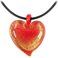 Click Here for More information or to Buy online Passione - Red & Gold Murano Glass Heart Pendant