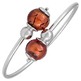 Click Here for More information or to Buy online Venere - Sterling Silver Bangle with Amber Murano Glass