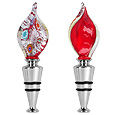 Click Here for More information or to Buy online Flame - Red & Silver Murano Glass Bottle Cap