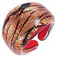 Click Here for More information or to Buy online Laguna - Red, Gold & Black Murano Glass Ring