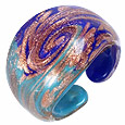 Click Here for More information or to Buy online Laguna - Blue & Gold Murano Glass Ring