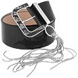 Click Here for More information or to Buy online Black Polished Leather Belt with Hanging Strands