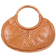 Cognac Leather Handbag with Wooden Handles