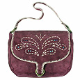 Click Here for More information or to Buy online Purple Butterfly Messenger Suede Bag