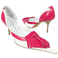 More information or Buy online White & Fuchsia Fringed d'Orsay Pump Shoes