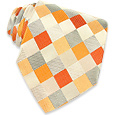 Click Here for More information or to Buy online Orange and Silver Checked Woven Silk Tie