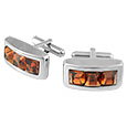 Click Here for More information or to Buy online Lumiere - Three Orange Square Stones Cufflinks