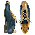 More information or Buy online Handcrafted Blue & Beige Leather Lace-up Shoes