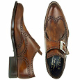 More information or Buy online Handcrafted Brown Wing-tip Monk Strap Shoes