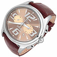 Click Here for More information or to Buy online Sinuoso Stainless Steel & Walnut Embossed Leather Chronograph