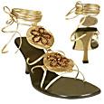 More information or Buy online Bronze Flower Crystals Ankle-wrap Sandal Shoes