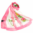Click Here for More information or to Buy online Pink Flowers on White Chiffon Long Scarf