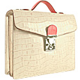 Click Here for More information or to Buy online Ivory & Pink Croco-embossed Double Gusset Compact Briefcase