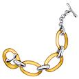 Amber Oval Murano Glass & Sterling Silver Bracelet