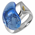 Vanita' - Blue Murano Glass Drop Ring