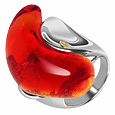 Vanita' - Red Murano Glass Stone Ring