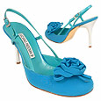 Turquoise Flower crepe de Chine & Leather Slingback Shoes