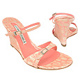 Pink Croco-embossed Leather Wedge Sandal Shoes