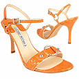 Orange Ring Detail Croco-style Leather Sandal Shoes     Manolo Likes!   Click!