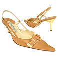 Camel Front Buckle Leather Slingback Pump Shoes