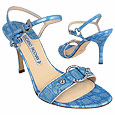 Blue Ring Detail Croco-embossed Leather Sandal    Manolo Likes!  Click!