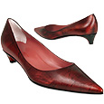 Metallic Cherry Leather Low-heel Pump Shoes    Manolo Likes!