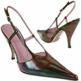 Opalescent Black Evening Pointy Slingback Shoes    Manolo Likes!  Click!