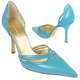 More information or Buy online Turquoise Smooth Leather Cut-out d'Orsay Pump Shoes