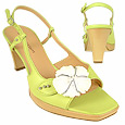 Flower Pistachio Platform Leather Sandal Shoes