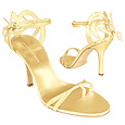 More information or Buy online Gold Strappy High-heel Leather Sandal Shoes
