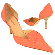 More information or Buy online Coral Croco-embossed Leather d'Orsay Pump Shoes