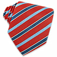 Click Here for More information or to Buy online Blue Bands on Red Textured Silk Tie