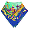 Click Here for More information or to Buy online Blue & Mint Flower Print Silk Square Scarf
