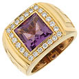 Click Here for More information or to Buy online Meandros - Amethyst and Diamonds Yellow Gold Ring